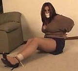 Struggling On The Floor. BBW, Tape Gagged, Pantyhose, Anle Strap High Heels, Cleavage