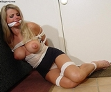 Nice Panties & Boobs Babe! Boobs, Tits, Headlights, Black Mini Skirt, Blonde, Cleafve Gagged, Bare Feet