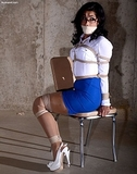 Another Paid Fantasy Abduction, She's Getting Her Money's Worth! Sling back stilettos, tape gag, eye glasses ... super sexy struggle
