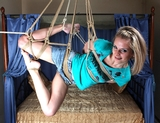 Suspended, Tickled and Giggling - Suspension, hemp ropes, bare feet, blonde