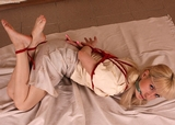 Frances in Barefoot Hogtie - Blonde, Bare Foot, Cleave Gagged, Skirt