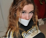 Blair Cheerleader Intiation - Tape Gag, Sweater, Rope.  I just love to tie up my girlfriend the second she puts on her cheerleader uniform