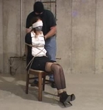 Secretary Blindfolded and Tied To The Chair On Screen. Blindfold, Tape Gagged, Hemp Ropes, Chair Tied, Stockings, Stilettos, Peek Toe Pumps, Satin Blouse