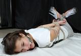 Roxana's Sexy High Heel Hogtie Struggle. Hemp ropes, hogtied, ball gag, high heels, mules