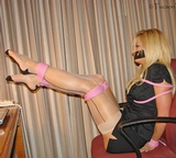 Secretary Struggle ... hot blonde tightly rope tied and tape gagged ... I want her!!!! Classic Video