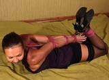 Elbows Hogtie Escape Challenge - Hogtied, Elbows Bound & Touching, High Heels, Black Dress