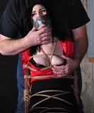 Mouth Stuffed and Tape Gagged On Screen