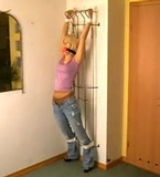 Kate Blonde Roped To The Rack - Blonde, ball gagged, blue jeans