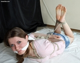 Mineya Barefoot Hogtie Struggle - Barefeet, hogtied, short shorts, cleave gag