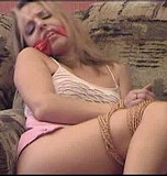 Kissa's Golden Rope. Blonde, cleave gag, ropes