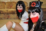 Kat & Marina: Nurses Tightly Bound & Gagged! Boots, Multiple Women Bound, Panty Peeks, Costume, Failed Escape Attempt, Phone