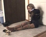 Business Suit Bound - Business Suit, Blonde, Cleave Gagged, High Heels, Hemp Ropes