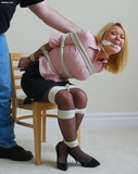 Sit Still or the Pain Will Intensify - Jai Dee Madison, Button Down Blouse, Stockings, High Heels, Black Mini Skirt, Cleave Gag, Blonde, Tied Elbows