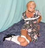 Paige bound in Knee Socks and Ankle Strap High Heels