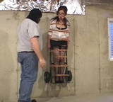 Cali Logan Strapped To The Dolly and Hoisted On The Wall ... Nice Trophy. Fondled, Ball Gagged, Stockings