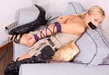 Foxy: Those Boots Were Made For Struttin'. Blonde, Tape Gagged, Elbows Tied, Stilettos, Boots, Thigh High Boots