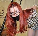 Lily is the Cousin In Trouble. Sexy Lily loves to hang around, We are going to have fun with you tonight  Eye glasses, redhead, strappado, ropes