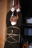Mandy Suspended From The Ceiling Struggling, Breasts Pop Out. Over The Mouth Gag, Blonde, Arms Suspended