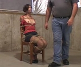 Sasha Fae: Tightly Webbed To Her Chair, Breasts Ripped Out of Her Blouse