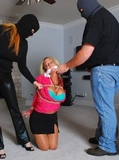 Cops and Robbers ... Destiny plays the hostage in our little game. Cleave Gagged, Blonde, Pantyhose, Black Mini Skirt With Slit, Hemp Ropes, Bra, Cleavage