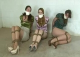 Three in the Dungeon. Three satin blouse beauties roped and gagged in RopExpert.com basement