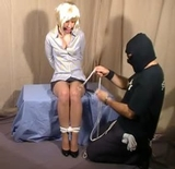 Maryol Roped Secretary - Pantyhose, satin blouse, cleave gagged, blonde