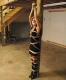 Katana Kain: Tape Gagged And Tied To The Post In The Basement - Pole Tied, Little Black Dress, High Heeled Boots, Lashed To the Post, Blonde