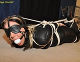 23 Minute Bondage Video - Leather Extreme Hogtie Struggle