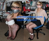 Scarlette Anne - Sequestered Secretary, Eye glasses, tape gagged, fondled, stockinged feet, chair tied, pantyhose