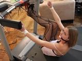 Star - Treadmill Peril. Ball Gagged, Pantyhose, Stockinged Feet