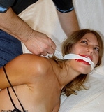 Tie Me Up Please - Mouth Stuffed, Cleave Gagged, Boobs, Breasts, Fondled, Bare Feet, Elbows Tied and Touching