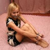 Foxy: ThumbCuffs, ScrewCuffs and Ticked Off. Bare Feet, Dress, Tape Gagged, Blonde