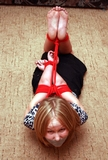Stephanie - Tied Elbows Hogtie Bondage. Touching Elbows, Bare Feet, Tape Gagged, Hogtied