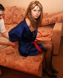 Struggling Until Her Satin Gown Falls! Satin Gown, Stockings, Rope Escape Challenge, Redhead