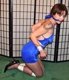 Casey Cupcakes, Sexy Satin Bue Dress Bondage Struggle