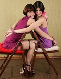 Sweet Lovers Bound & Cleave Gagged. Dresses, multiple women bound, cleave gags, high heels, face to face
