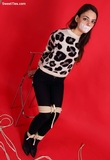 Tied up in High Heels & Leopard Print Sweater