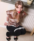 Ball gagged, satin blouse, peek toe pumps, high heels, ropes ... Oh shit babe, I love our Saturday afternoon bondage games.