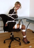 Secretary Katana Kain Roped and Gagged: Blonde, Eye Glasses, Business Suit, Ankle Strap Stiletto High Heels, Office