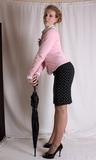 Slow Strip in Preparation for Bondage. High Heels, Peek Toe Pumps, Sweater, Skirt, Strip