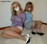 Jamie Q & Destiny: Seriously, I Tried To Warn Her He Was Behind Her! High Heels, Stockings, Mini Skirts, Sling Backs, Microfoam Tape Gags, Button Down Blouses, Multiple Women Bound