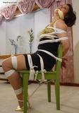 Tomiko's Chair Tied Gold Stiletto High Heel Struggle