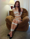 Dez Crotch Roped and Activating the Vibrator! Boobs, tits, cleave gagged, high heels, crotch rope, vibrator