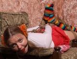 Striped Knee Socks Hogtie Struggle - Hogtied, Ball Gagged, Toe Socks, Skirt, Hemp Ropes