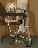 Kate Blonde, Spank Ready. Pantyhose, stilettos, blonde, cleave gagged, bent over