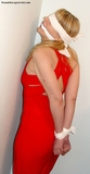Red Gown Bondage Struggle. Blindfold, cleave gagged, blonde, gown