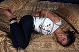 Giggly Bondage Struggle - Hogtied, smile, bare feet, hemp ropes