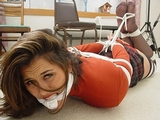 Tomiko, Red Sweater Hogtie: Sweater, plaid skirt, stockings, stockinged feet, knotted cleave gag, hogtied