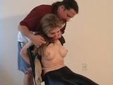 Ms Jones Bondage Fun and Games - Chair Tied, Blindfolded, High Heels, Peek Toe, Hand Gagged, Boobs, Breasts, Ball Gagged