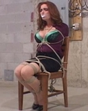 LT Smash Chair Tied Struggle. Mouth stuffed, clear tape gag, redhead, chair tied, ropes, high heels